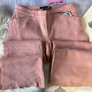 Express   The Editor Pant Pink Suede Leather Pants